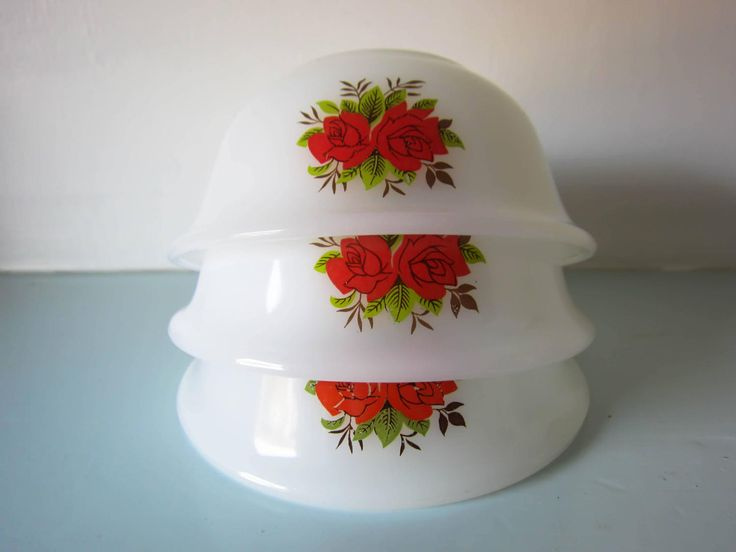 Vintage Pyrex bowl, milk glass bowl, vintage red rose bowl, milk glass bowl, retro bowl, pyrex dish, 1950s bowls, Opal ware, Made in England by thevintagemagpie01 on Etsy