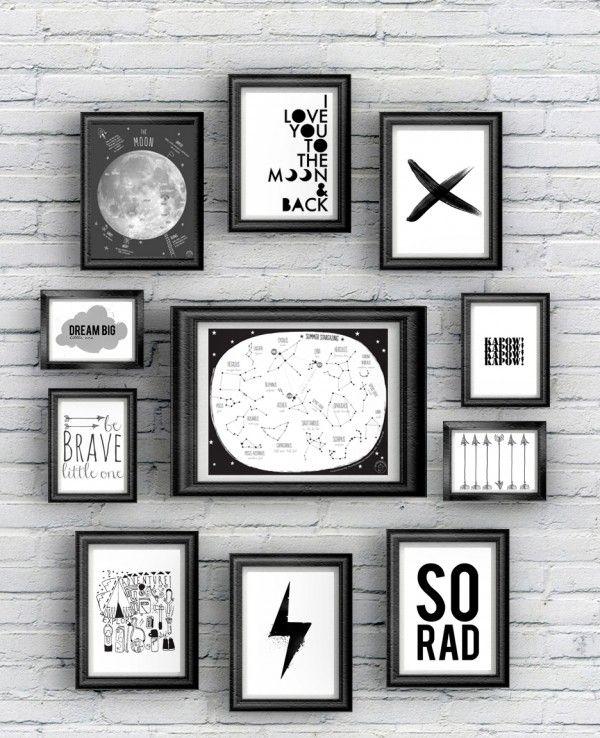 Galeria neutra em preto e branco