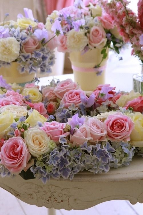 ARRANGEMENT Inspiration: | Create your own arrangements of Pink and White Roses + Lavender Hydrangeas + ADD Other Light Purple Flowers, if desired.