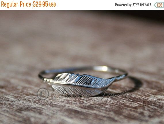 PRESIDENTS DAY SALE Feather ring - Sterling silver Indian Inspired Native American Stacking Stacker Stack  Gift her Mothers Day christmas gi by ArmoredJewelry on Etsy https://www.etsy.com/listing/118718479/presidents-day-sale-feather-ring