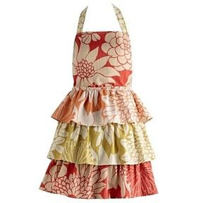 Tropical Trio Ruffles Vintage Apron. 100% Cotton Orange, Gold and Red Kitchen by Gift Yenta on Opensky