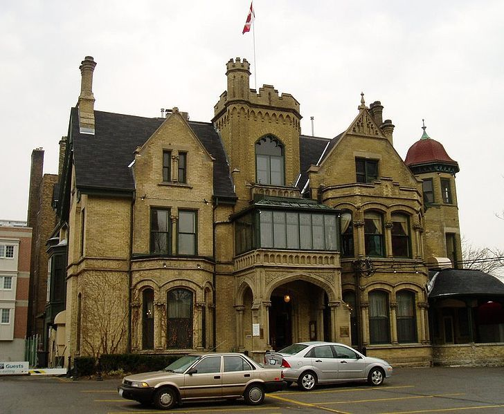 The Keg Mansion, Toronto, Ontario - the rope from a maid who hung herself here can sometimes be seen hanging in the front entrance; rarely the maid, just the rope is reported - the sounds of children playing & laughing are heard in the upper floors and the kitchen - guests & staff report that disturbing apparitions are reported in the woman's washroom
