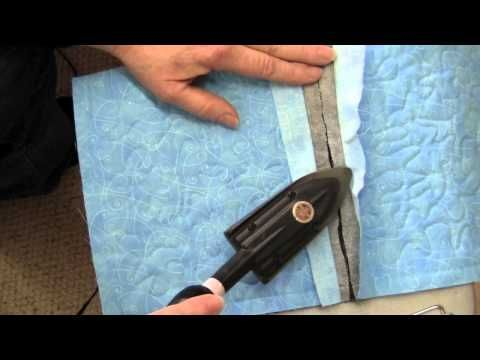 Attaching quilt blocks without sashing in quilt as you go tutorial...uses dissolvable thread, heat and press batting adhesive, EZ fold pen with chisel tip, washable school glue, and seam presser!!! Queen of Stitching