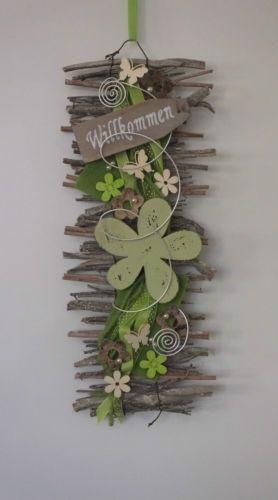 Tuerkranz-Tuerschmuck-Willkommen-Wandbehang-Filz-Blume-Fruehling