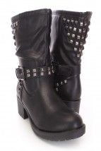 Black Studded Combat Boots Faux Leather
