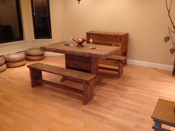 5 foot salvaged wood dining room table and two benches for 9 foot dining room table