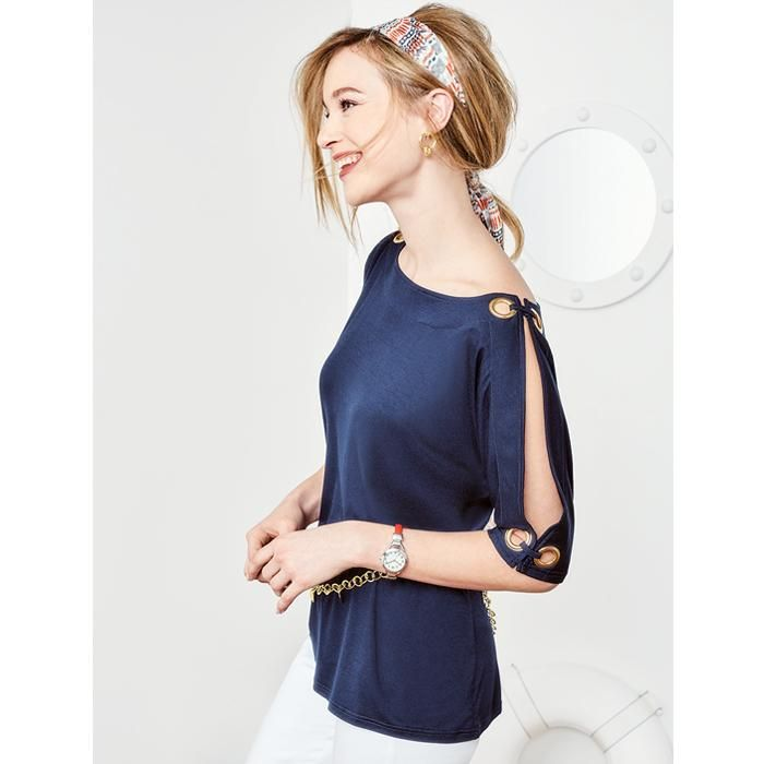 Grommet Split-Sleeve Top in Women's. Avon. Navy knit with side-slit opening and goldtone grommets on sleeves. Oversized grommet detail. Rayon/spandex. Machine wash and dry. NEW! Regularly $29.99.  #CJTeam #Avon #Style #Sale #Fashion #New  #Womens #C14 #Top #Blouse #SignatureCollection #Avon4me FREE shipping with any $40 online Avon purchase.  Shop Avon fashion online @ www.TheCJTeam.com