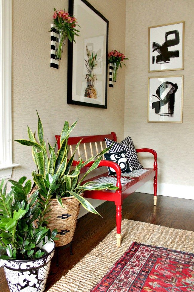 fun and happy entry foyer - Our Fifth House, black, white & red