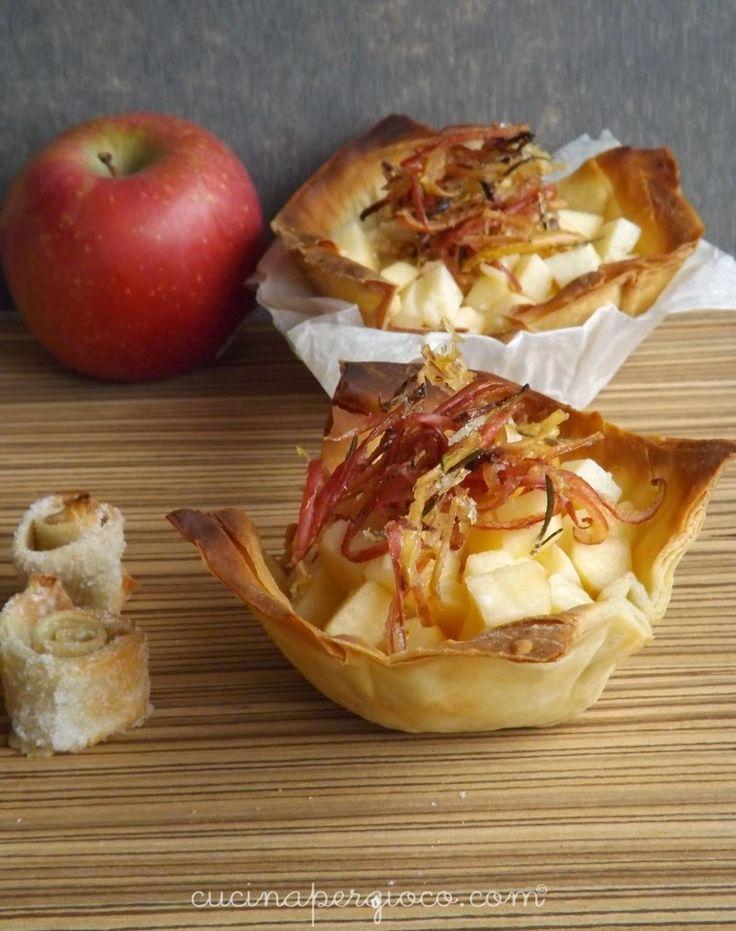 Cestini di pasta phillo con macedonia di mele Fuji e Bastardo del Grappa