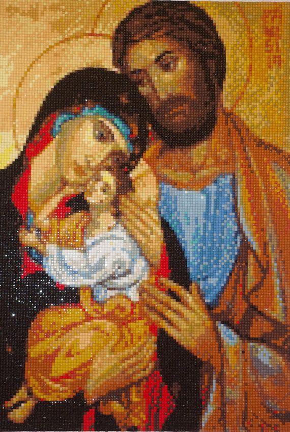 Holy Family - Jesus Mary Joseph Diamond Painting Finished Completed Wall Decor Embroidery Cross Stitch Rhinestone Needlework Religion Mosaic