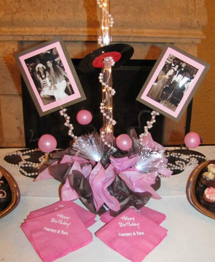Sweet 16 Table Decoration Ideas candy centerpiece vase Sweet16pinkandbrownbaseofvintage Sweet 16 Centerpiecessweet