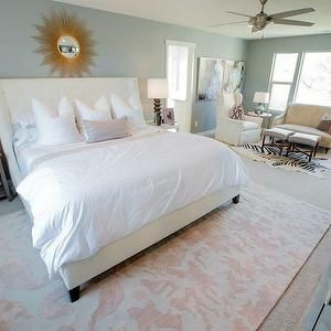 This rug  hate the Starburst Mirror though. Transitional, bedroom, Henry Walker Homes
