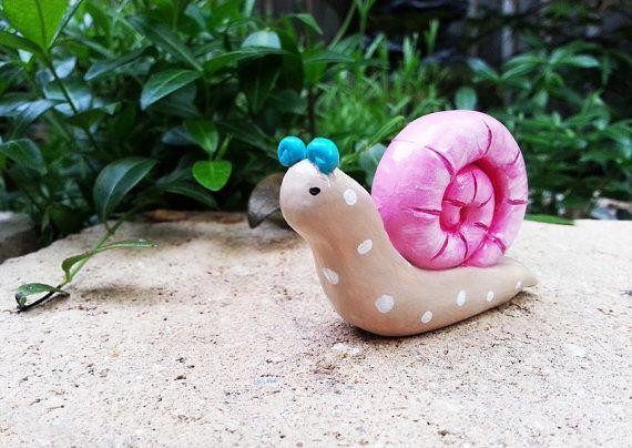 Fairy Garden Snail Pink Shell Blue Antenna by KithKinCrafts, $14.00