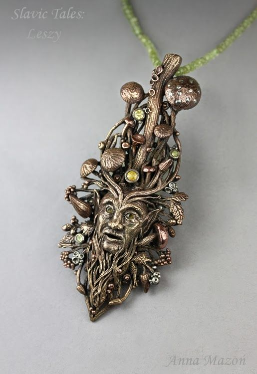 """Anna Mazon: """"Slavic Tales - Leshy"""" pendant. Second Place in the Metal Clay category of the 2014 Saul Bell Design competition."""
