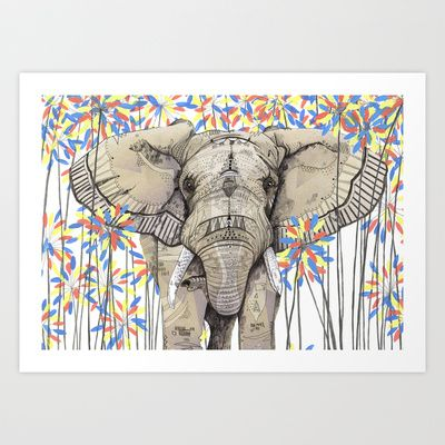 Elephant // Endangered Animals Art Print by Sandra Dieckmann - $19.00