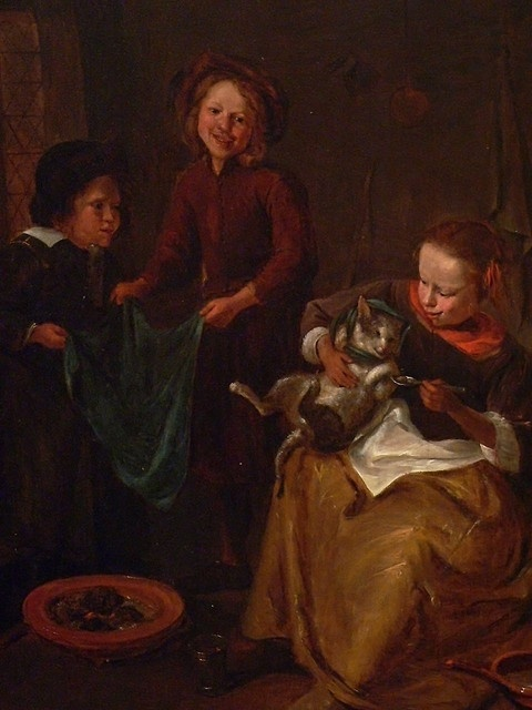 the Cat's Medicine - Jan Steen They've got the blanket at the ready, in case they need to make a kitty burrito!