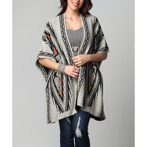 Reborn Collection Gray Southwest Knit Sweater ($50) ❤ liked on Polyvore featuring plus size women's fashion, plus size clothing, plus size tops, plus size sweaters, plus size, long knit sweater, poncho sweater, knit sweater, long gray sweater and plus size poncho