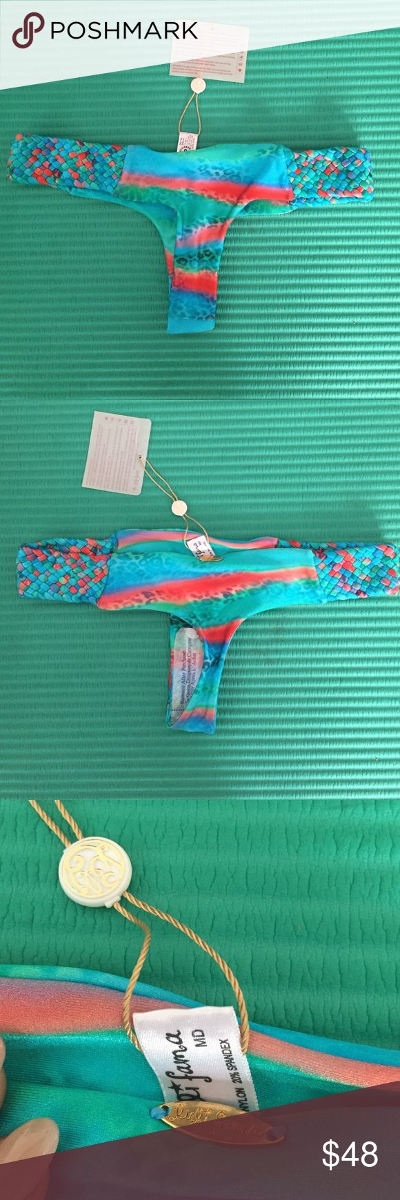✨NWT✨Luli Fama Thong Bikini Bottoms size M Luli Fama bikini bottoms size M are brand new with tags. Comes from a pet and smoke free environment . Luli Fama Swim One Pieces