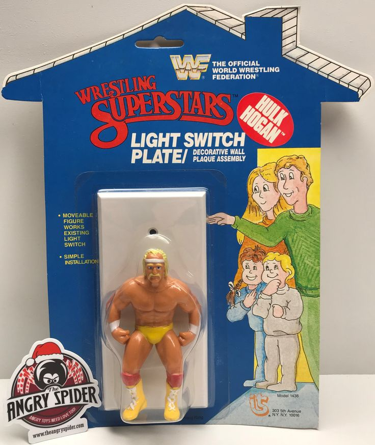 The Angry Spider Has All Of The Toys You Want For Your Collection: TAS037843 - 1985 ...  Check it out here! http://theangryspider.com/products/tas037843-1985-titan-sports-wwf-wrestling-superstars-light-switch-plate-hulk-hogan?utm_campaign=social_autopilot&utm_source=pin&utm_medium=pin