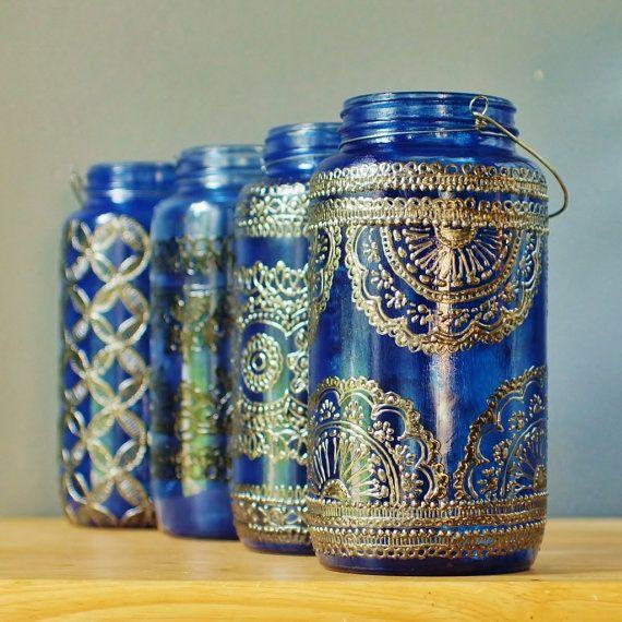 Azure Blue Glass Moroccan Jar Lantern with Dark Pewter by LITdecor