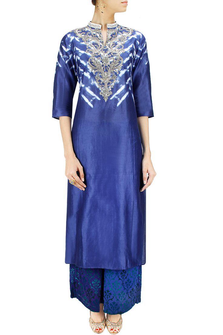 Indigo shibori embroidered tunic with embroidered pyjama BY KRISHNA MEHTA. Shop now at: www.perniaspopups... #perniaspopupshop #designer #stunning #fashion #style #beautiful #happyshopping #love #updates