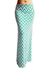Chevron Maxi Skirt -- Aqua & White