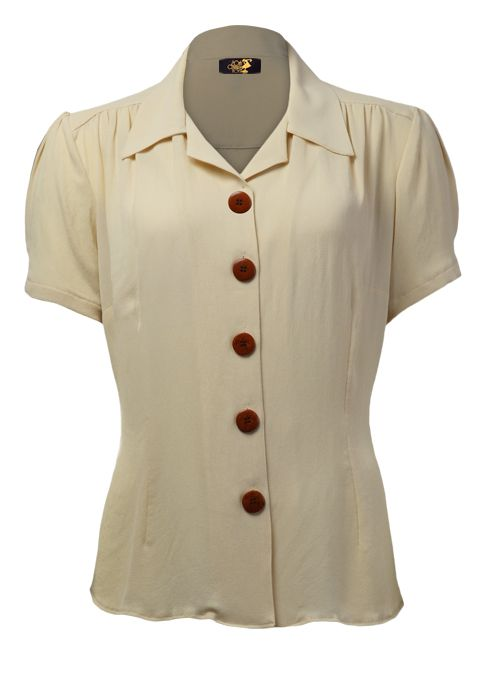 New 40s Shirt - Buttermilk This 40s inspired blouse would have been a mainstay item during the 40s - made in our newly sourced rayon crepe - feels really vintage.