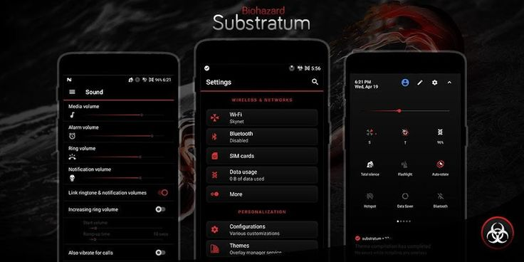 Biohazard Substratum Theme v3.2 [Patched]   Biohazard Substratum Theme v3.2 [Patched]Requirements:7.0 & up  Substratum Theme Engine  RootOverview:Unique and elegant dark theme with aesthetic black and red accent design.  You need to install Substratum theme engine app to use this theme  OMS & RRO This theme works on rom with full Substratum OMS support and also work with stock rom with legacy RRO support (such as LineageOS). RRO requires Root  Easy to apply There's no complicated option here…