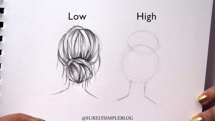 Surelysimple How To Draw High Vs Low Bun Hair Drawing Art Journaling Youtube Zeichnen Schablonen Vorlagen Bilder