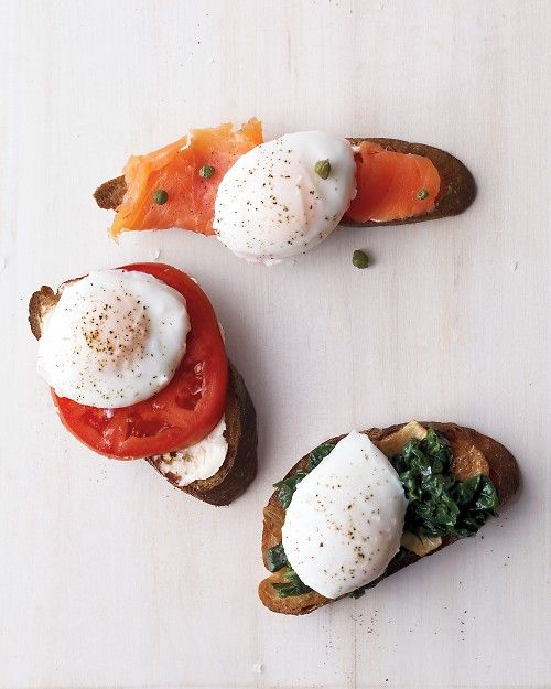 Poached Eggs on Toast with tomatoes, spinach or smoked salmon