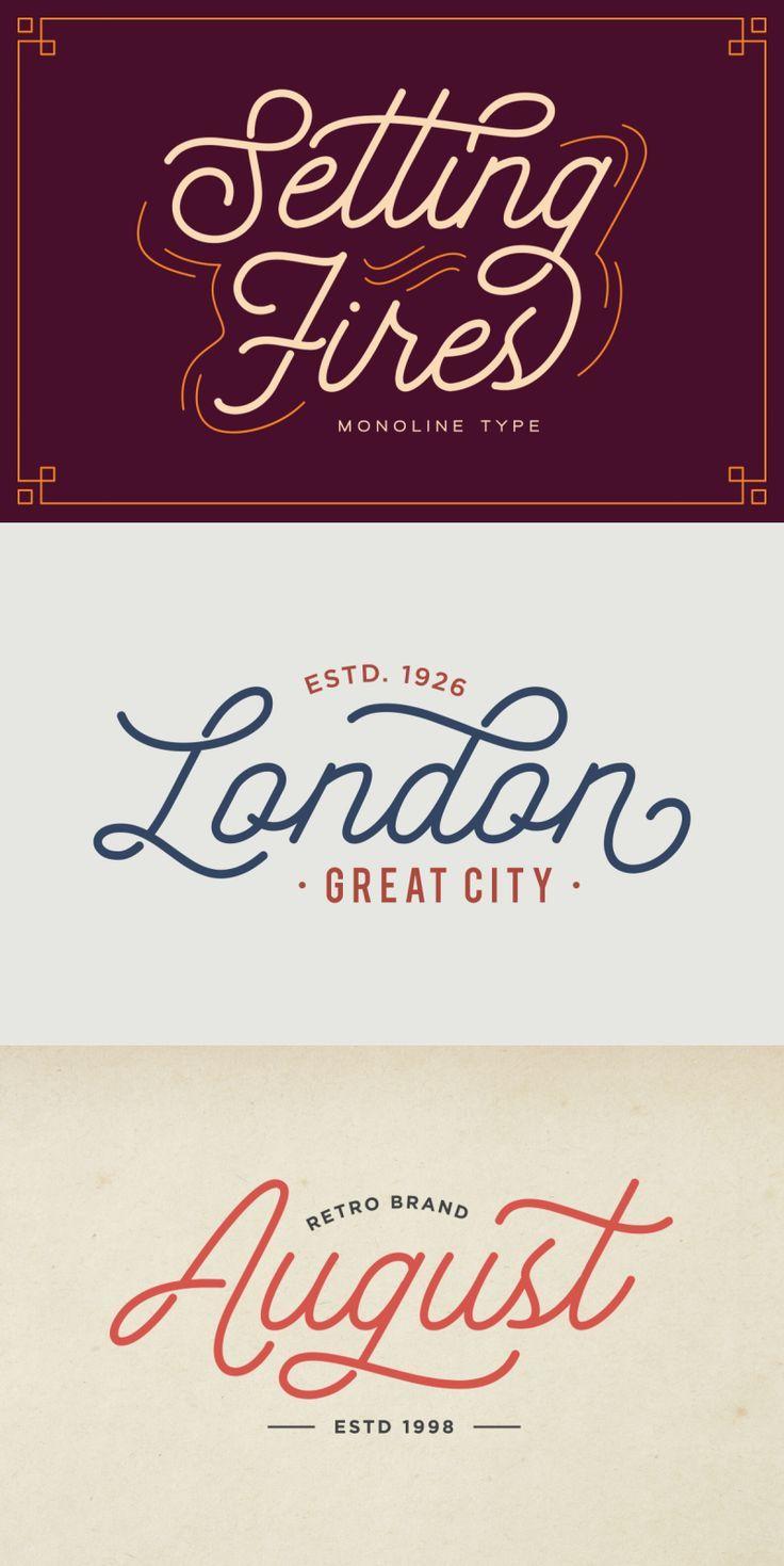 Seting Fires Monoline Type Vintage Script Font In 2020 Vintage Script Fonts Script Lettering Lettering