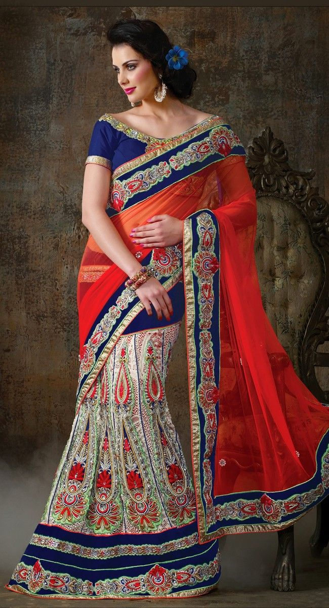 Splendorous Off White & Royal Blue Lehenga Choli
