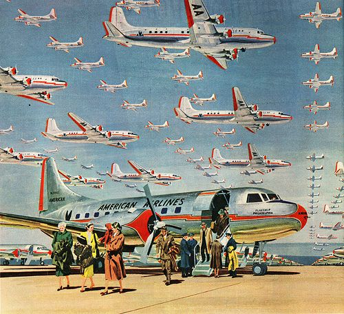 American Airlines, 1950 .... WHOA,  If I saw a sky filled with that many planes, I'd hide!