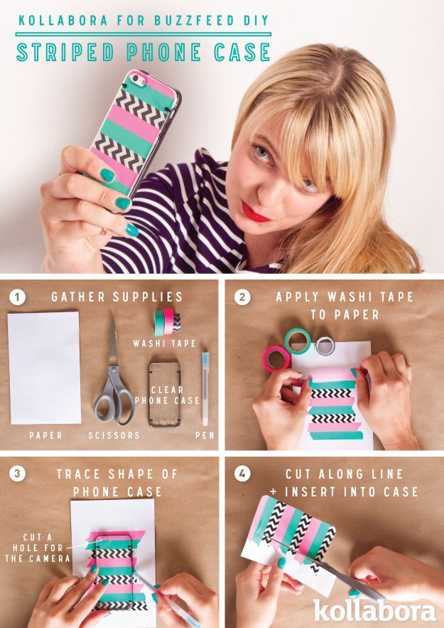 Striped Phone Case DIY With Washi Tape