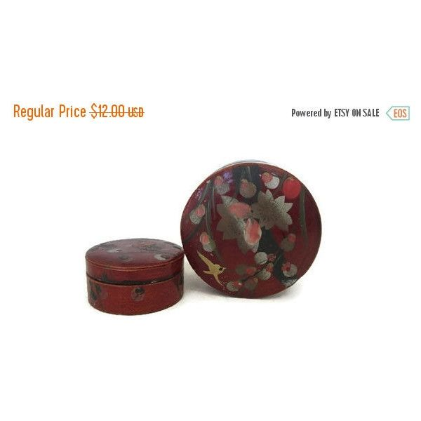 ON SALE Asian Lacquer Ware Box Set, Round Trinket Boxes, Nesting Set... ($10) ❤ liked on Polyvore featuring home, home decor, small item storage, gold box, floral boxes, gold home decor, painted boxes and gold home accessories