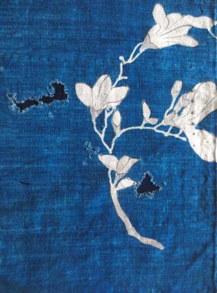 Mujo antique Japanese katazome indigo textile