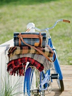 Pendleton blanket with leather carrier-Camp Plaid