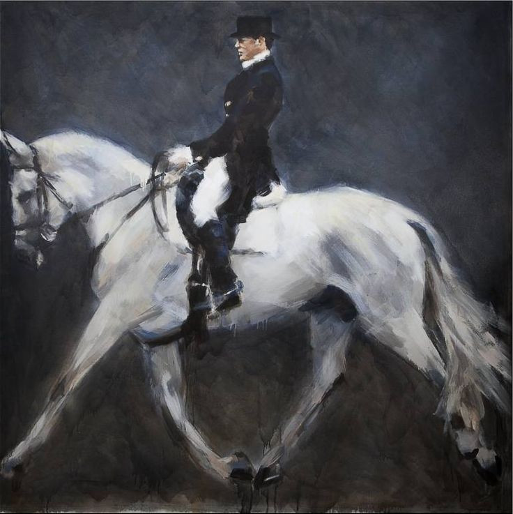 "Buy Moment of Suspension, a Oil on Canvas by Marcos Terol from Spain. It portrays: Horse, relevant to: rider, whitehorse, blackandwhite, dressage, horse First piece of my series ""The Reprise"". The moment when the horse for a few brief seconds is suspended in mid air during its trot. A brief second of ""quiet grandeur"".    This painting belongs to the series The Reprise probably the most intimate and mysterious series of the entire sample. Marcos Terol compares the rider and..."