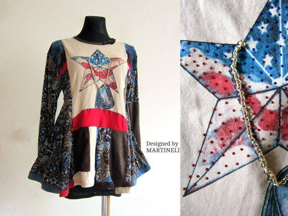 American Flag Dress Boho Gypsy Dress Hippie Dress by MARTINELI