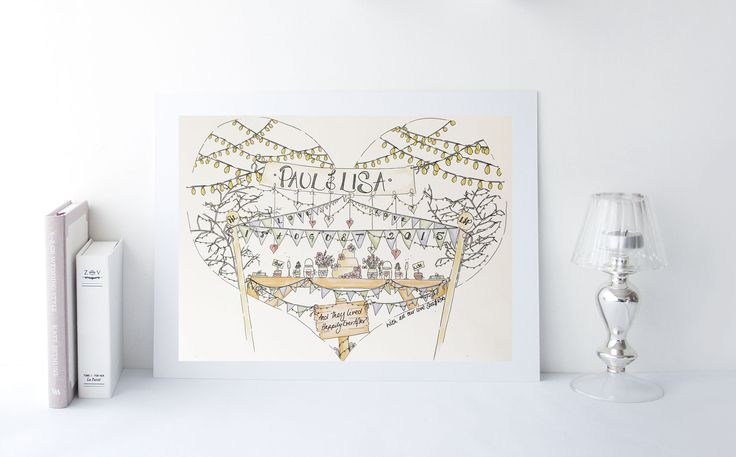 Personalised Wedding Anniversary Print bunting and fairy lights
