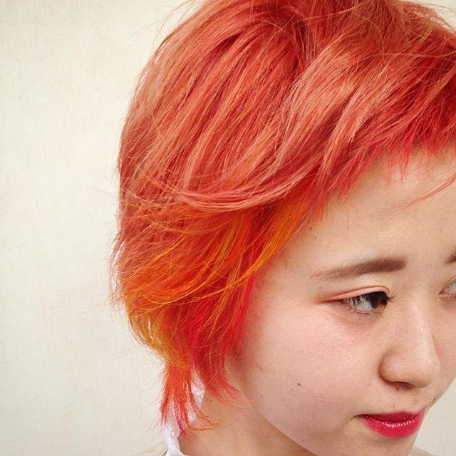 WEBSTA @ umitosnatsuki - ウルフ➕ブラッドオレンジ#表参道#hair #haircut #hairstyle #hairfashion #red#マニパニ #ヘアカラー#ヘアカラー#ウルフ#オレンジ#ピンク#レッド#美容師 #青山#美容室 #サロン