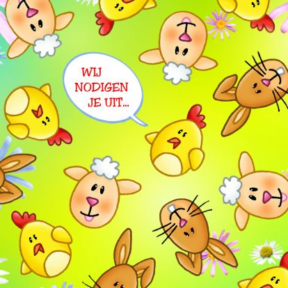 Vrolijke paasuitnodiging - happy easter invitation. Change text and send as card from Kaartje2go - Creagaat Pasen Pinkster