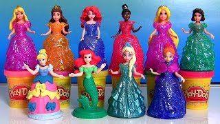Play Doh Sparkle Royal Palace Disney Princess Glitter Glider Magiclip Dolls Anna Elsa Ariel Belle - YouTube