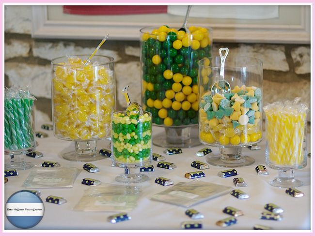 Green and yellow inspired candy tables dishes for a
