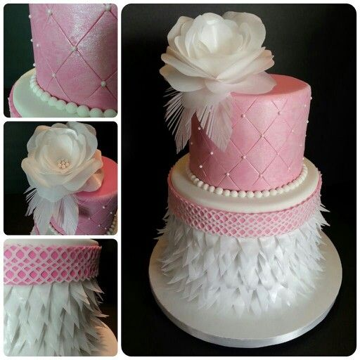 Pink peral with wafer paper decor