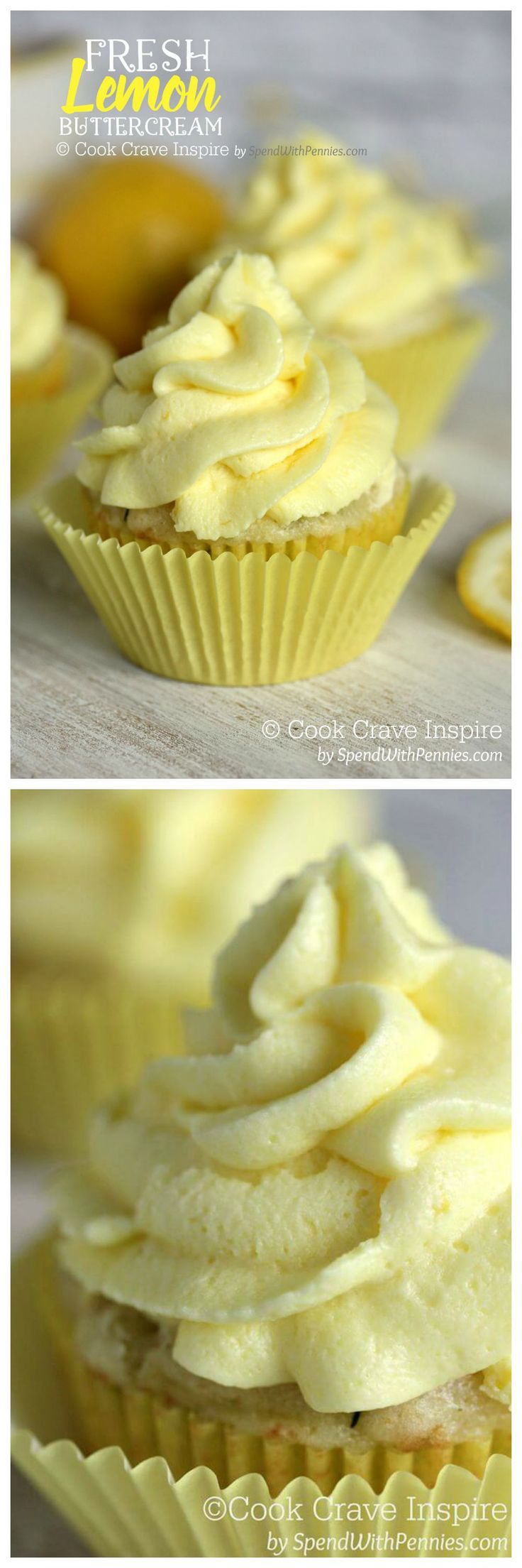 This Fresh Lemon Buttercream is easy to make and results in a deliciously luscious frosting that is light and citrusy. Perfect on cupcakes or banana cake!