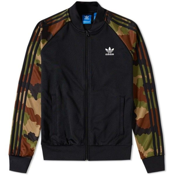 Adidas Essentials Camo Superstar Track Top ($86) ❤ liked on Polyvore featuring mens fashion, mens clothing, mens activewear and mens activewear jackets