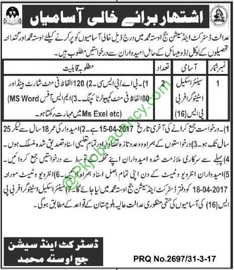 District and Session Court Jobs Usta Muhammad 01 April 2017