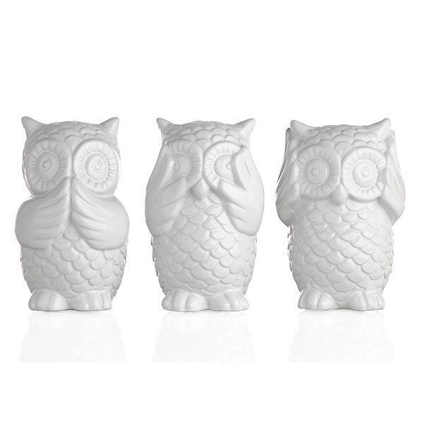 They hear no evil speak no evil our see no evil home decor pinterest owl - Hear no evil owls ceramic ...