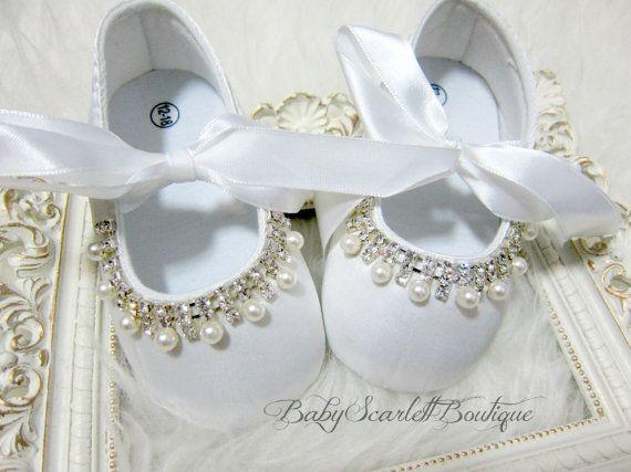 White Satin Baby Girl ShoesChristening by babyScarlettBoutique, $24.99